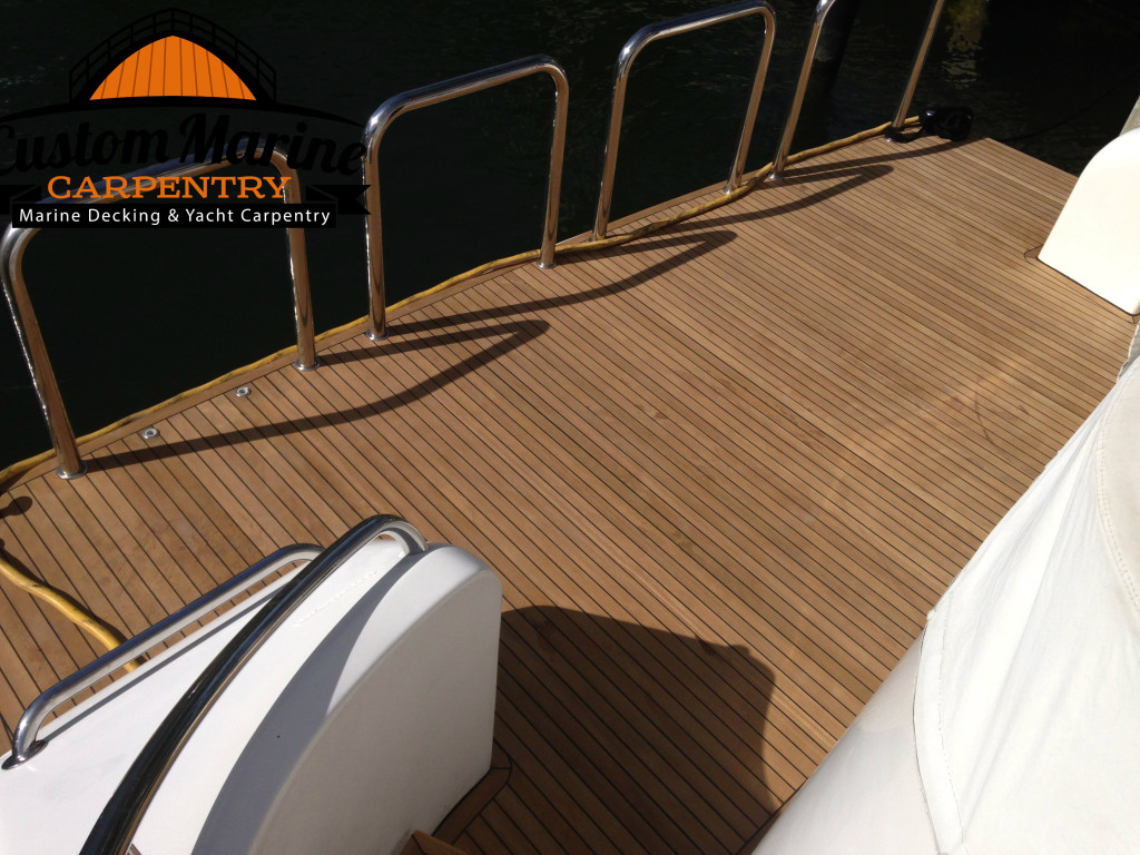 78 Ocean Alexander_ New Teak Decking Platform Built By Custom Marine Carpentry