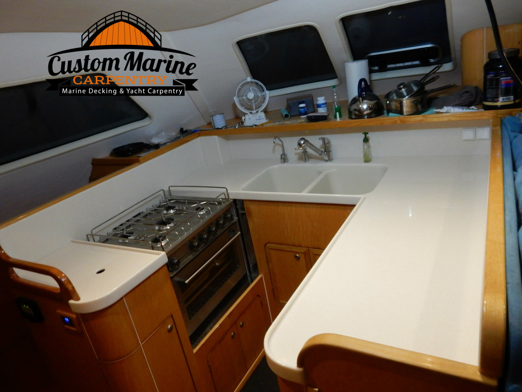 Corian Counter Top in Boat Kitchen by Custom Marine Carpentry