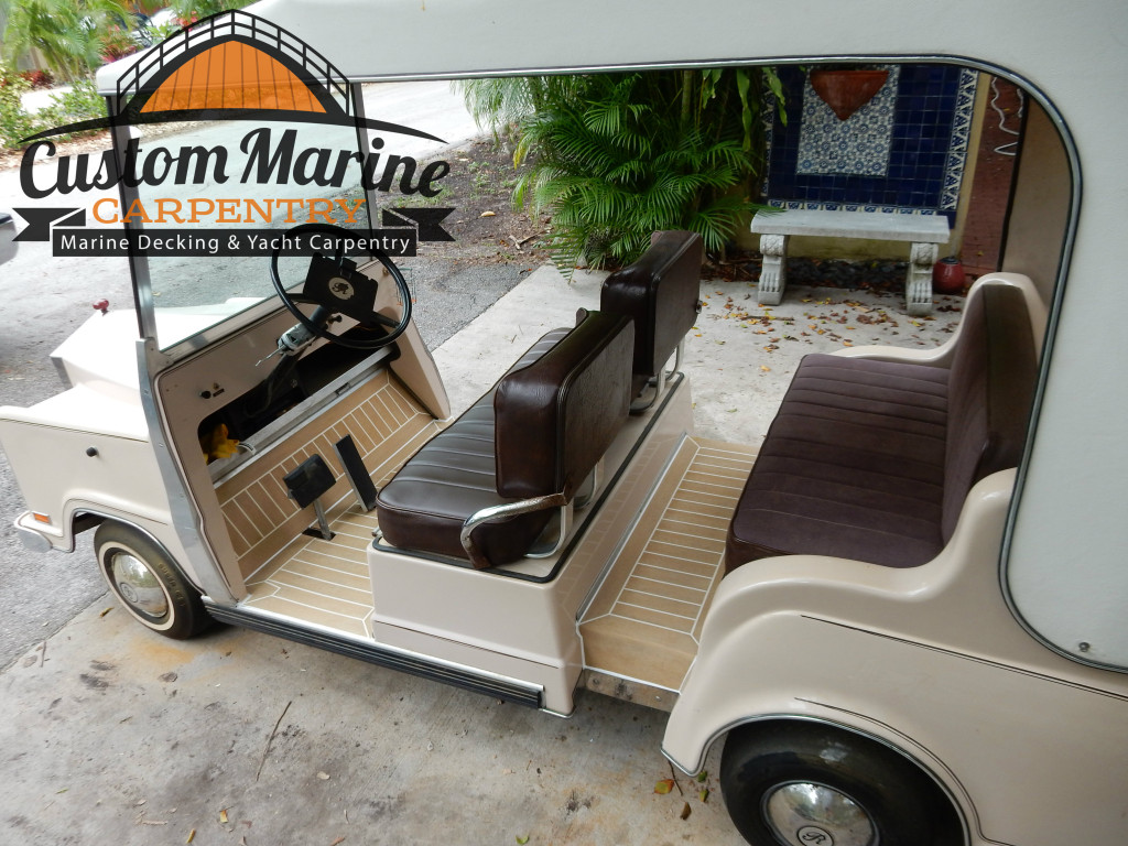Marine flooring  Built in a Golf Car By custom marine carpentry