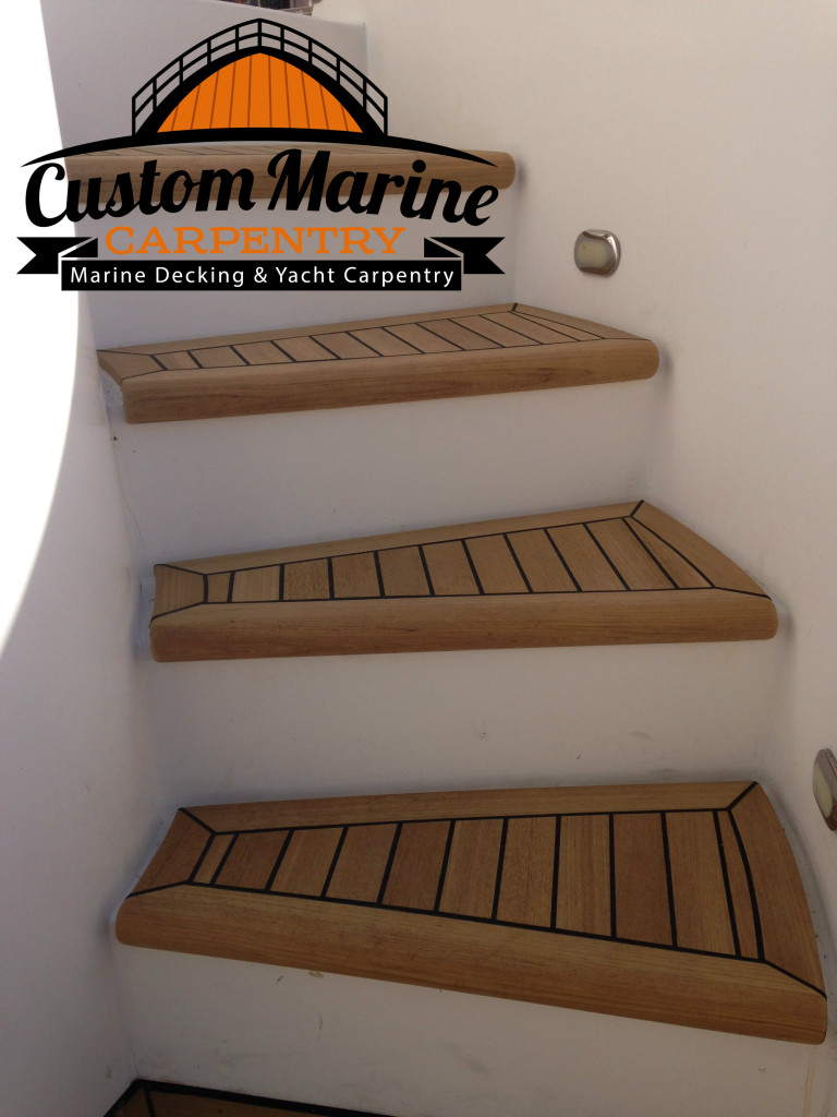 Teak Decking Steps Built for Custom Marine Carpentry