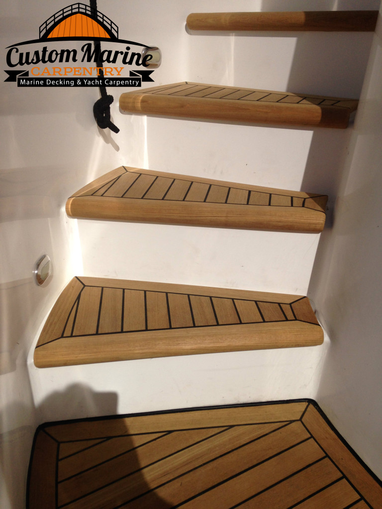 Teak Decking Steps by Custom Marine Carpentry, with the best marine carpentry services in all South Florida
