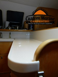Corian Counter Top for a Boat built by Custom Marine Carpentry in Fort Lauderdale