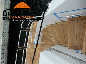 Custom Marine Carpentry built this beutiful teak decking in ft Lauderdale