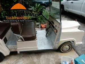 Golf Car Flooring wit synthetic teak decking by Custom Marine Carpentry