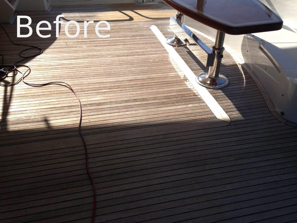 teak sanding repair, marine flooring, boat flooring