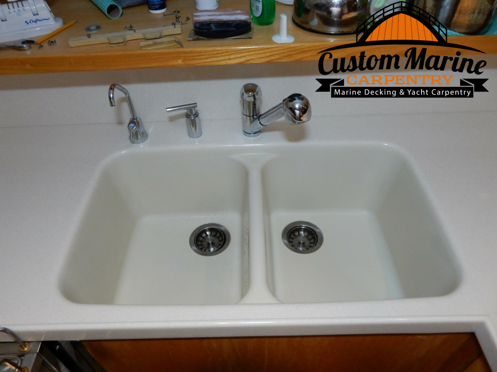 Corian Counter Top in Boat Kitchen by Custom Marine Carpentry in Fort Lauderdale