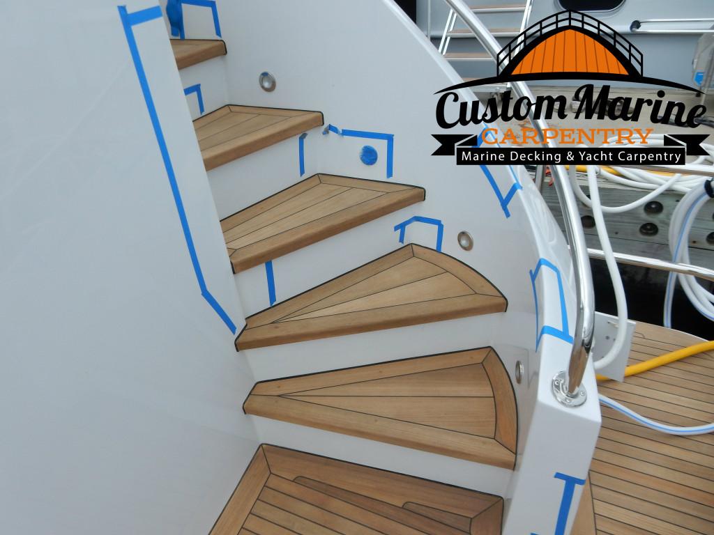 Teak Sanding Repair in fort lauderdale by Custom Marine Carpentry