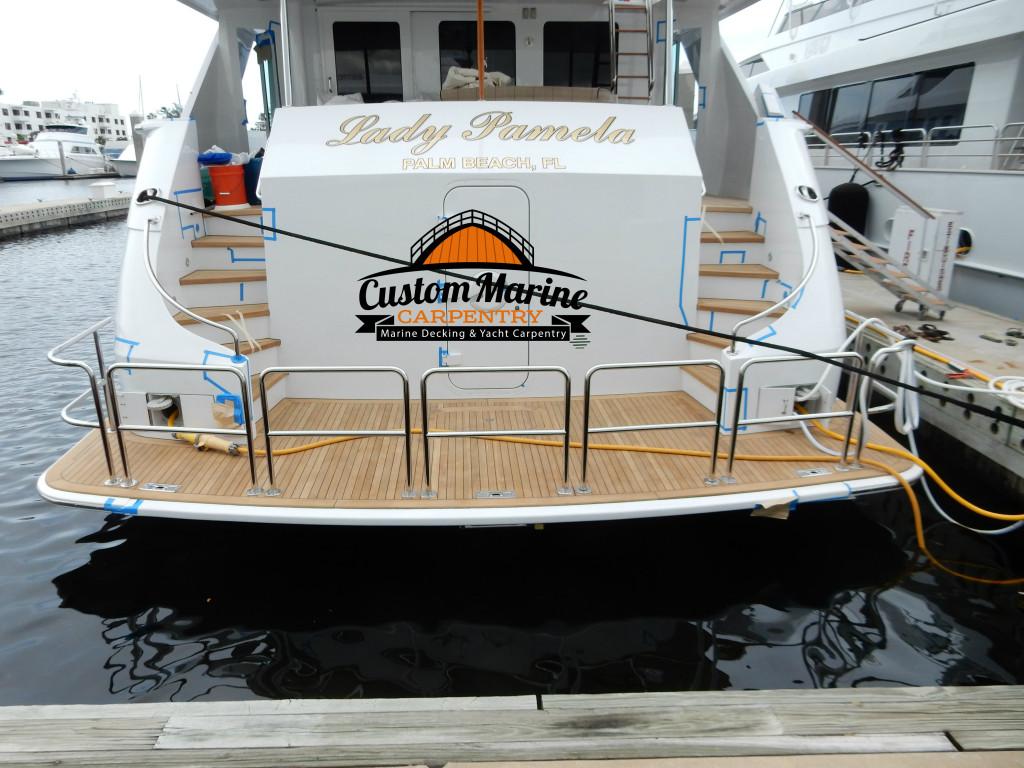 by custom marine carpentry, teak decking Sanding Repair in ft lauderdale