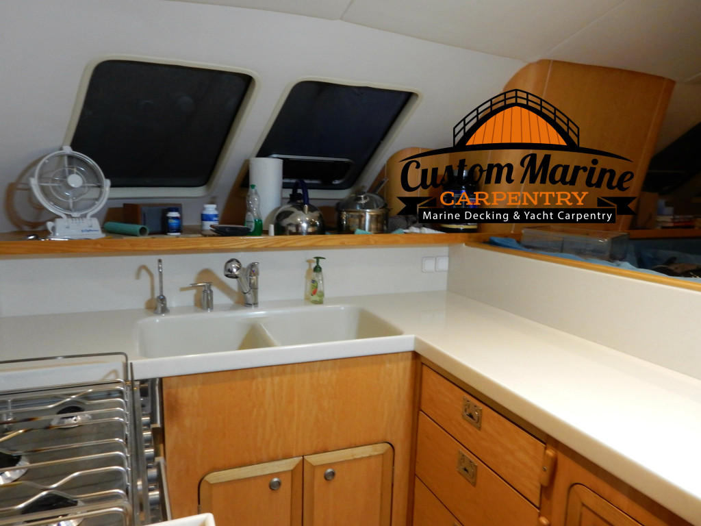 look this Counter Top in a Boat Built For Custom Marine Carpentry