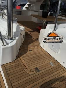 62 Catamaran teak decking installed 2