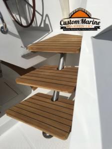 62 Catamaran teak decking installed 3