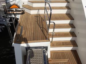62 Catamaran teak decking installed 4