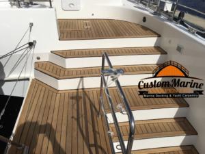 62 Catamaran teak decking installed 5