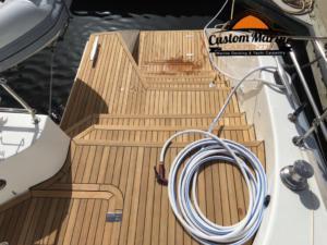 62 Catamaran teak decking installed 7
