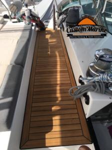 62 Catamaran teak decking installed 8