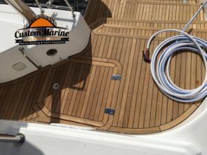 62 Catamaran teak decking installed 9