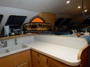 Marine Carpentry services, Counter top in a Boat by Custom Marine Carpentry